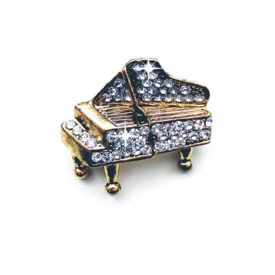 Brooch Grand Piano Design with Crystals