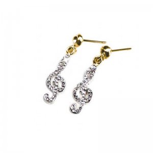 Earrings Golden Treble Cleff design with crystals
