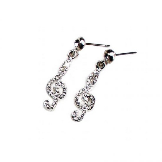 Earrings Treble Cleff Design with Crystals