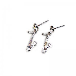 Earrings Saxophone Design with Crystals