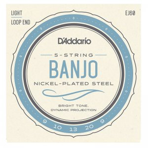 D'Addario EJ60 Nickel Plated Steel, Light 9-20 5 String Banjo Set