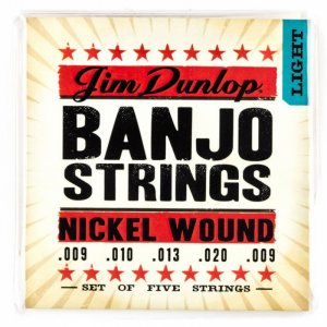 Jim Dunlop DJN0920 Nickel Wound 5 String Banjo Strings, Light, 9.20