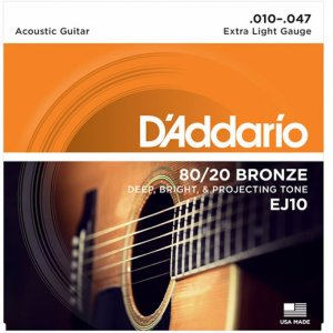 D'Addario EJ10 80/20  Bronze Acoustic Guitar Strings .010-.047