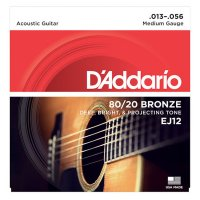 D'Addario EJ12 80/20 Bronze Acoustic Guitar Strings, .013-.056