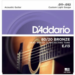 D'Addario  EJ13 80/20 Bronze Acoustic Guitar Strings, .011-.052
