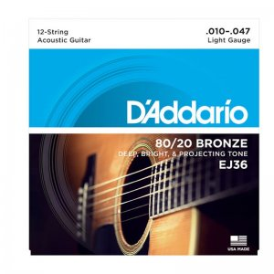 D'Addario EJ36 12 String 80-20 Bronze Acoustic Guitar Strings
