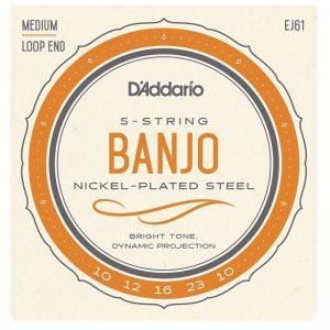 D'Addario EJ61, Nickel Plated Steel, Med 10-23, 5 String Banjo Set
