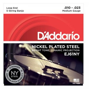 D'Addario EJ61NY, Nickel Plated Steel Med 10-23, 5 String Banjo Set