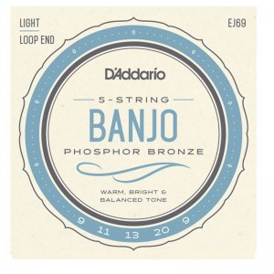 D'Addario EJ69 Phos Bronze, (Light) 5 String Banjo Set Loop End