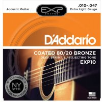 D'Addario EXP10 Acoustic Guitar Strings 80/20, extra light .010-.047