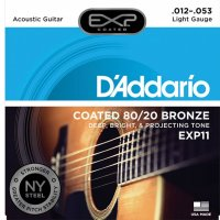 D'Addario EXP11 Bronze Acoustic Guitar Strings, light 12-53