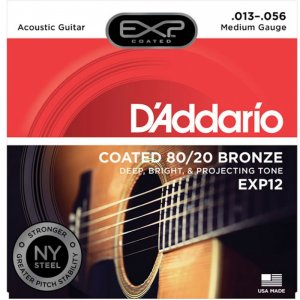 D'Addario EXP12  Bronze Acoustic Guitar Strings ,80/20 , medium .013-.056