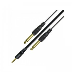 Kinsman LPAC02 10ft 3.5mm Jack to two 6.3mm mono Plugs, 3.5mm Jack Lead