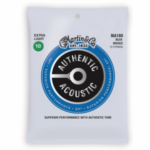Martin MA180 12 String Acoustic Guitar Strings SP 80/20 Extra Light (10-47)