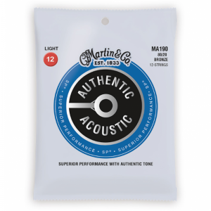 Martin MA190 12 String Acoustic Guitar Strings SP 80/20 Light (12-54)