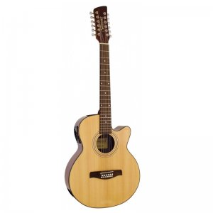 Brunswick BTK5012NA 12 string Acoustic EC Cutaway Guitar, Natural