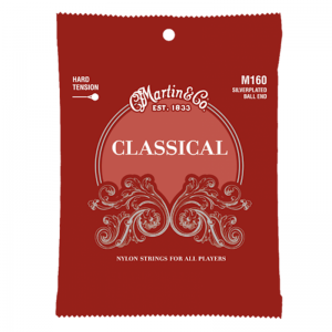Martin Classical silverplated ball end guitar strings, hard tension