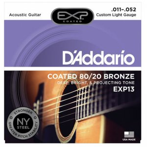 D'Addario EXP13 Bronze Acoustic Guitar Strings , 80/20, custom light .011-.052