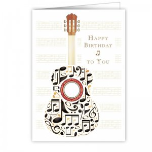 Quire 3291 Guitar Notes Birthday Card