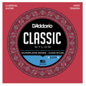 D'Addario EJ27H Nylon, Silverplated, Wound Classical Guitar Strings, Hard Tension