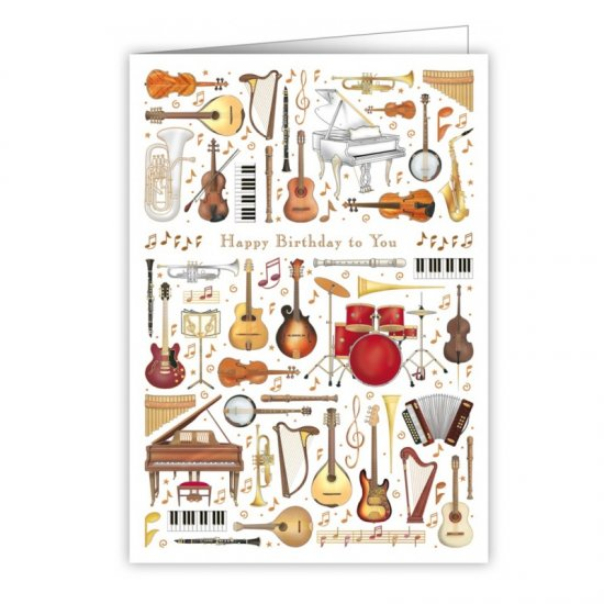 Quire 3963 Musical Instruments Birthday Card