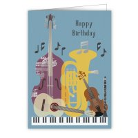 Quire 6302 Musical Instruments Birthday Card