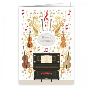 Quire 4086 Piano & Violins Birthday Card