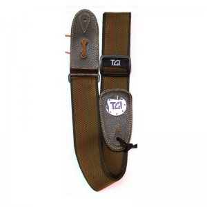 TGI Brown And Red Stripe TGS13041 Woven Guitar Strap