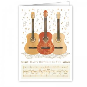 Quire 3216 Three Guitar Birthday Card